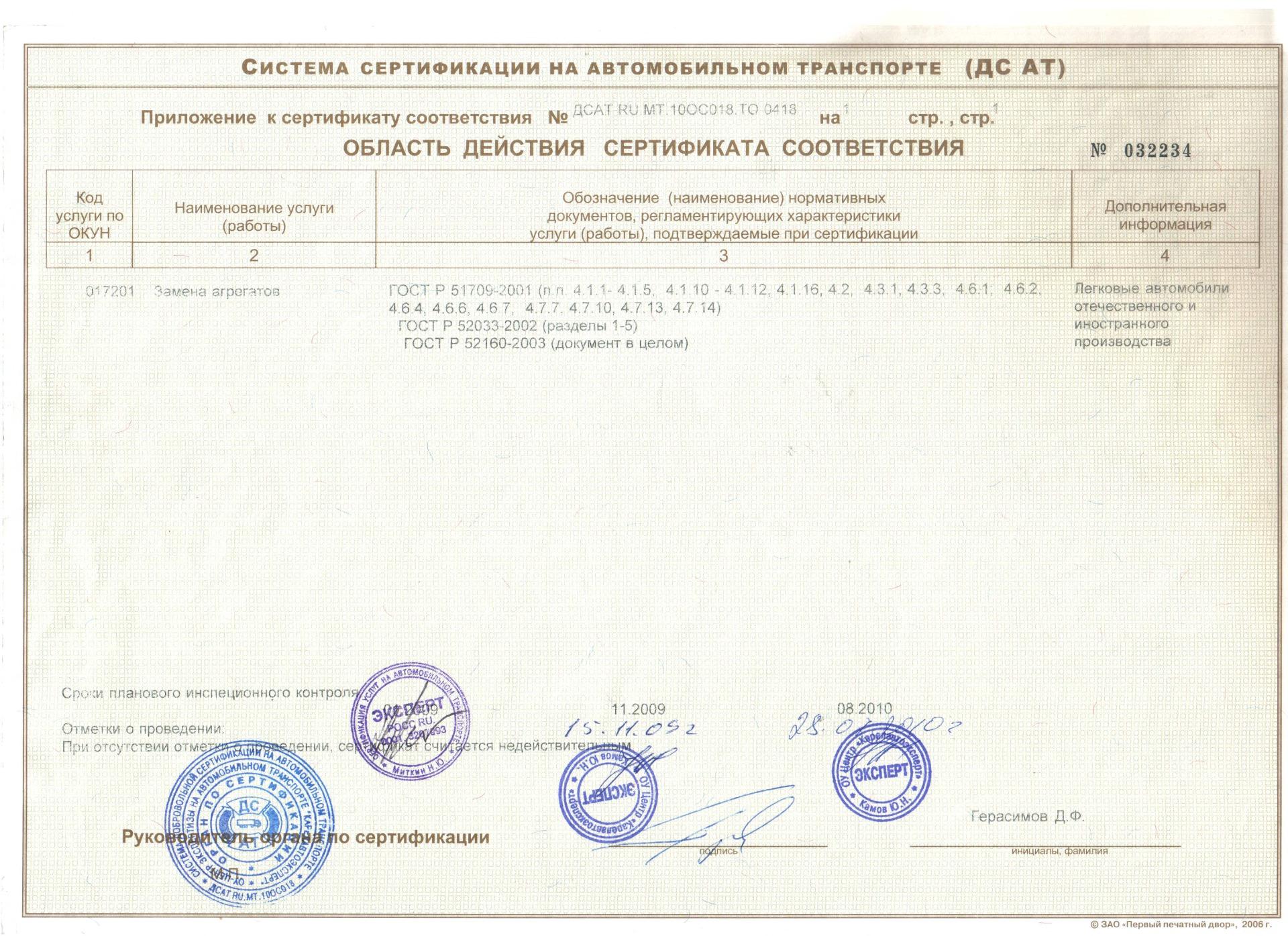Ремонт агрегатов и двигателей Лекс Мотром Петрозаводск сертификат